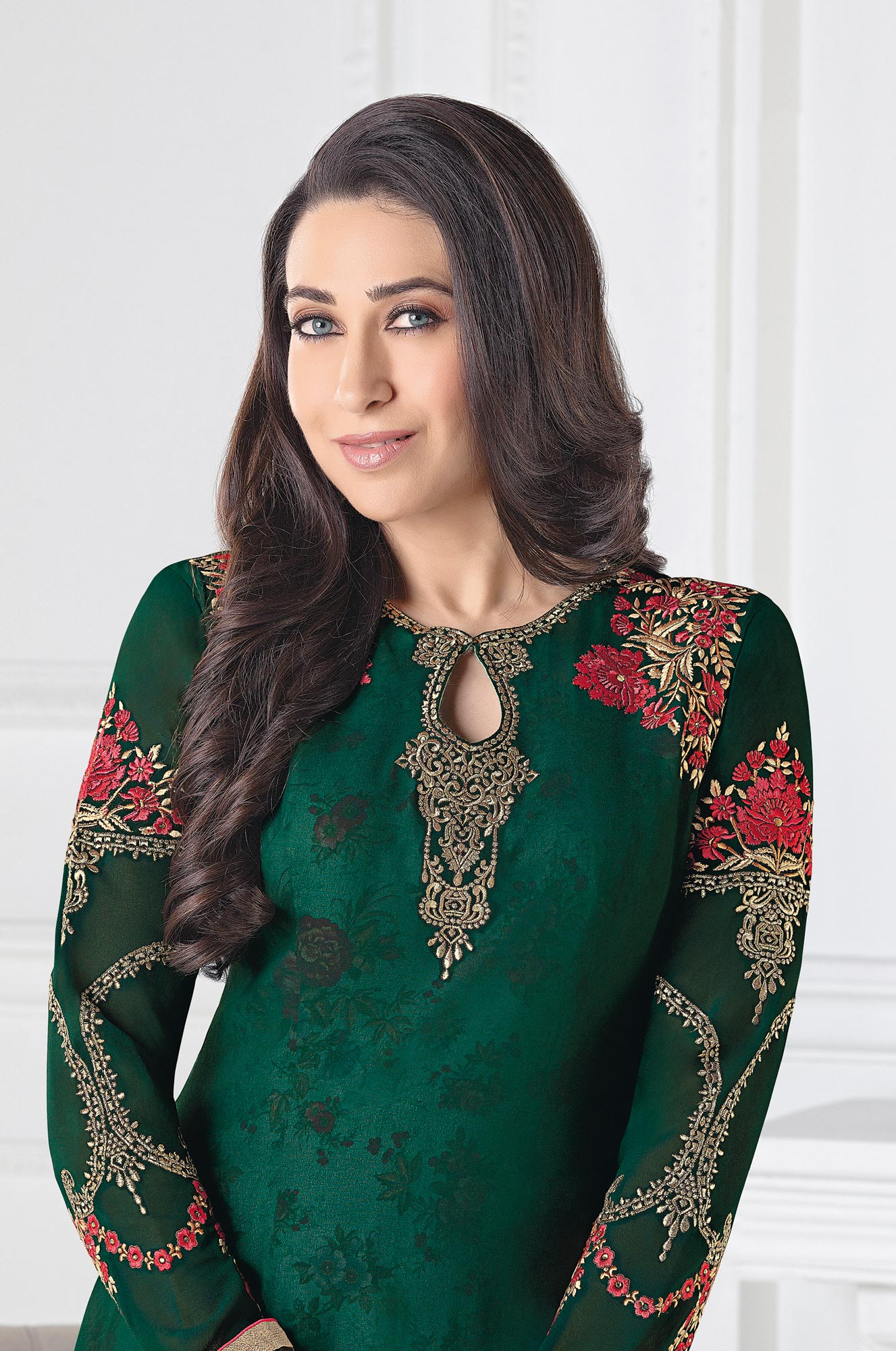Adorable Bottle Green Georgette Embroidered Designer Suit