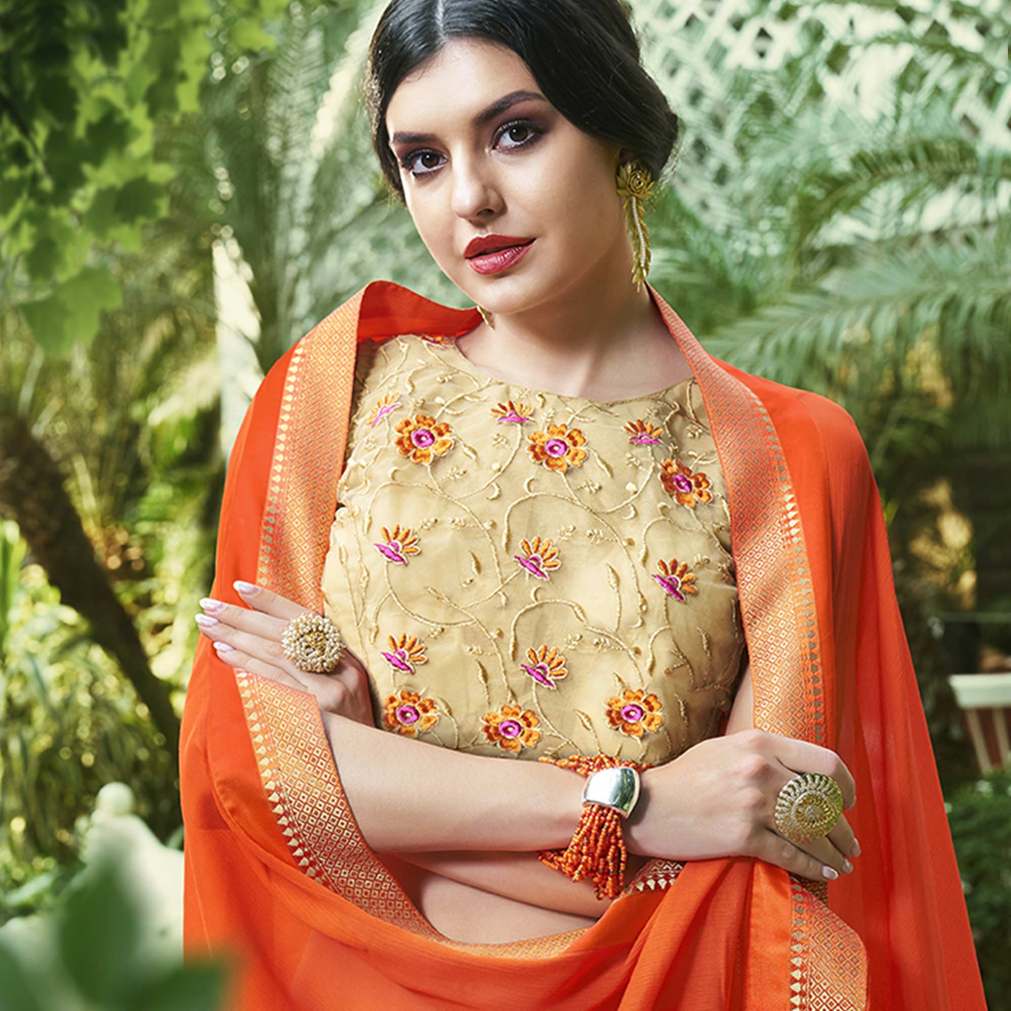 Hypnotic Orange Colored Party Wear Printed Chiffon-Brasso Saree