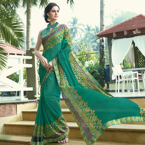 Elegant Turquoise Green Colored Party Wear Printed Chiffon-Brasso Saree