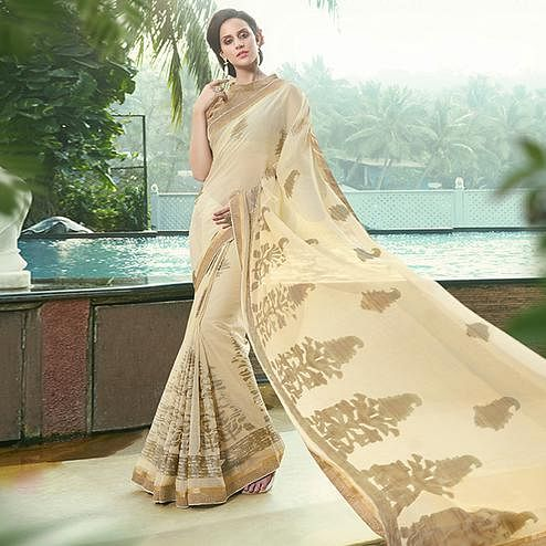 Excellent Cream Colored Party Wear Printed Chiffon-Brasso Saree