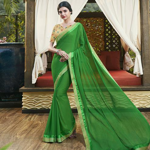 Breathtaking Green Colored Party Wear Printed Chiffon-Brasso Saree