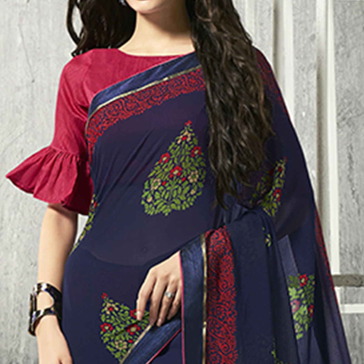 Ethnic Navy Blue Colored Party Wear Printed Chiffon-Brasso Saree