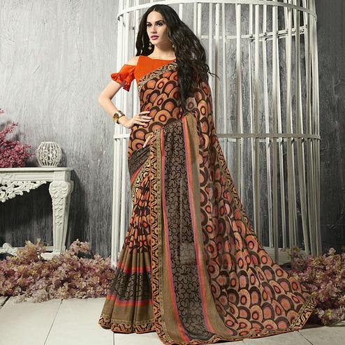 Alluring Peach - Brown Colored Party Wear Printed Chiffon-Brasso Saree