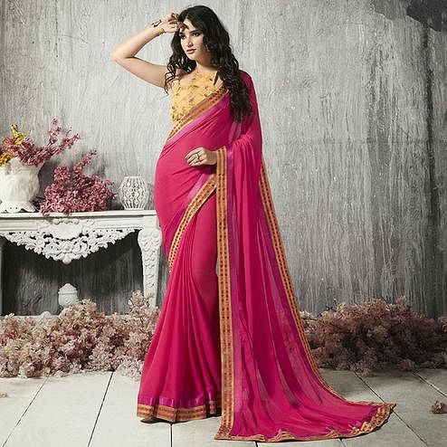 Sensational Deep Pink Colored Party Wear Printed Chiffon-Brasso Saree