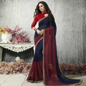 Flaunt Navy Blue Colored Party Wear Printed Chiffon-Brasso Saree