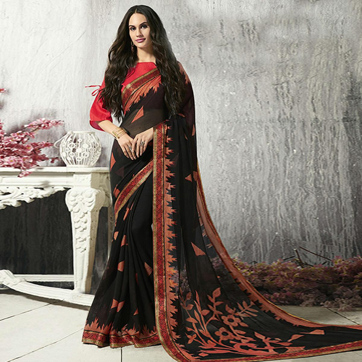 Dazzling Black Colored Party Wear Printed Chiffon-Brasso Saree