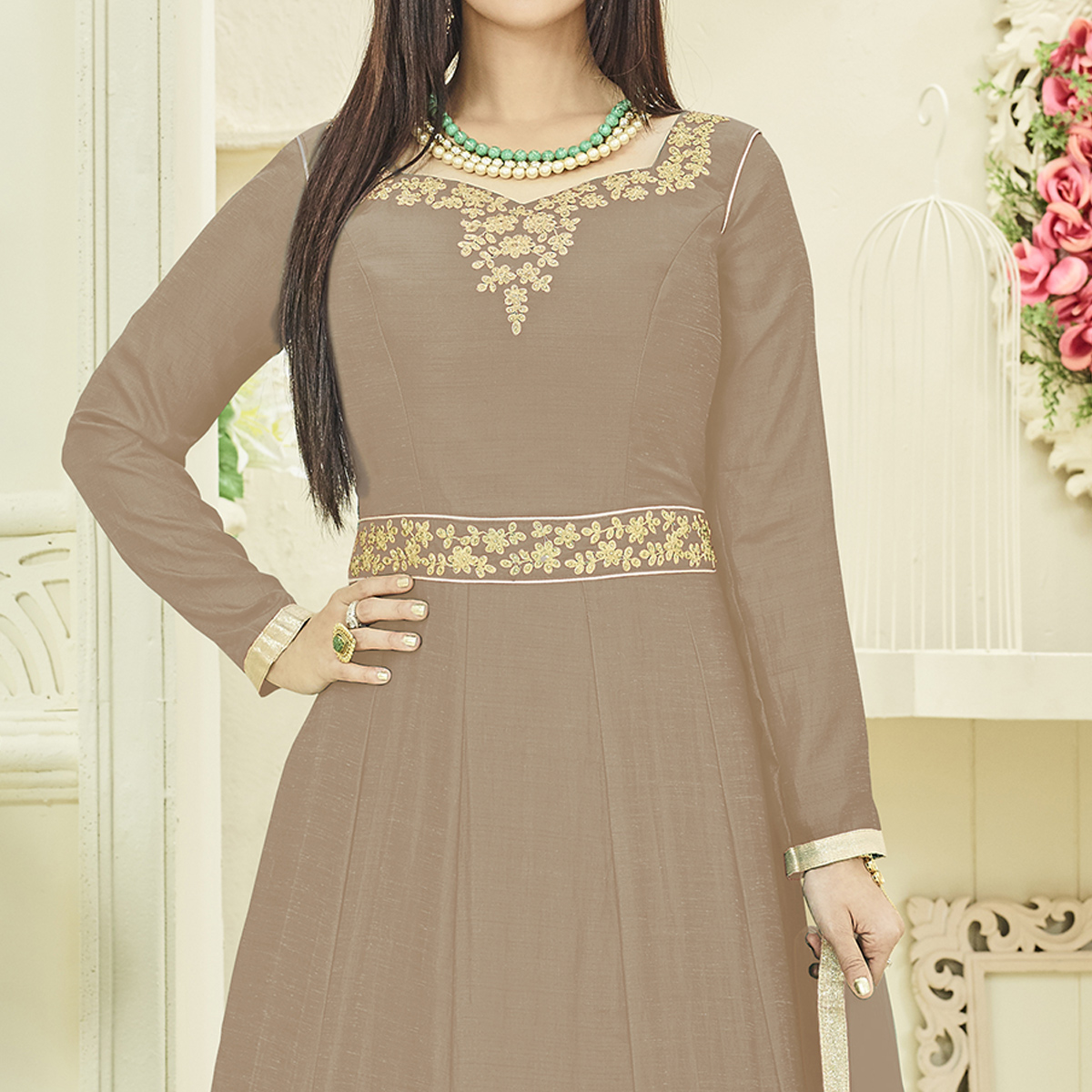Groovy Light Brown Colored Party Wear Embroidered Georgette Anarkali Suit