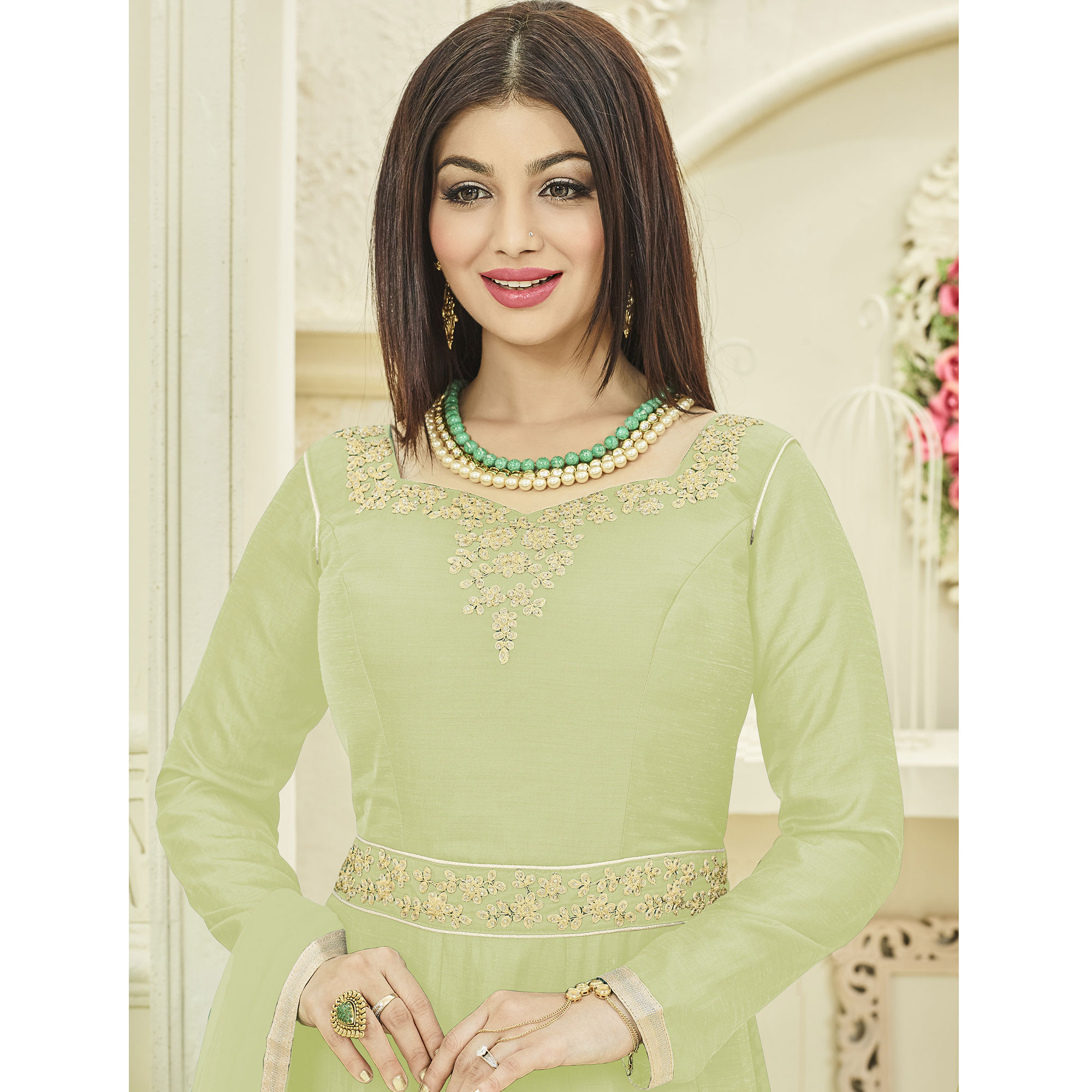 Prominent Pale Green Colored Party Wear Embroidered Georgette Anarkali Suit