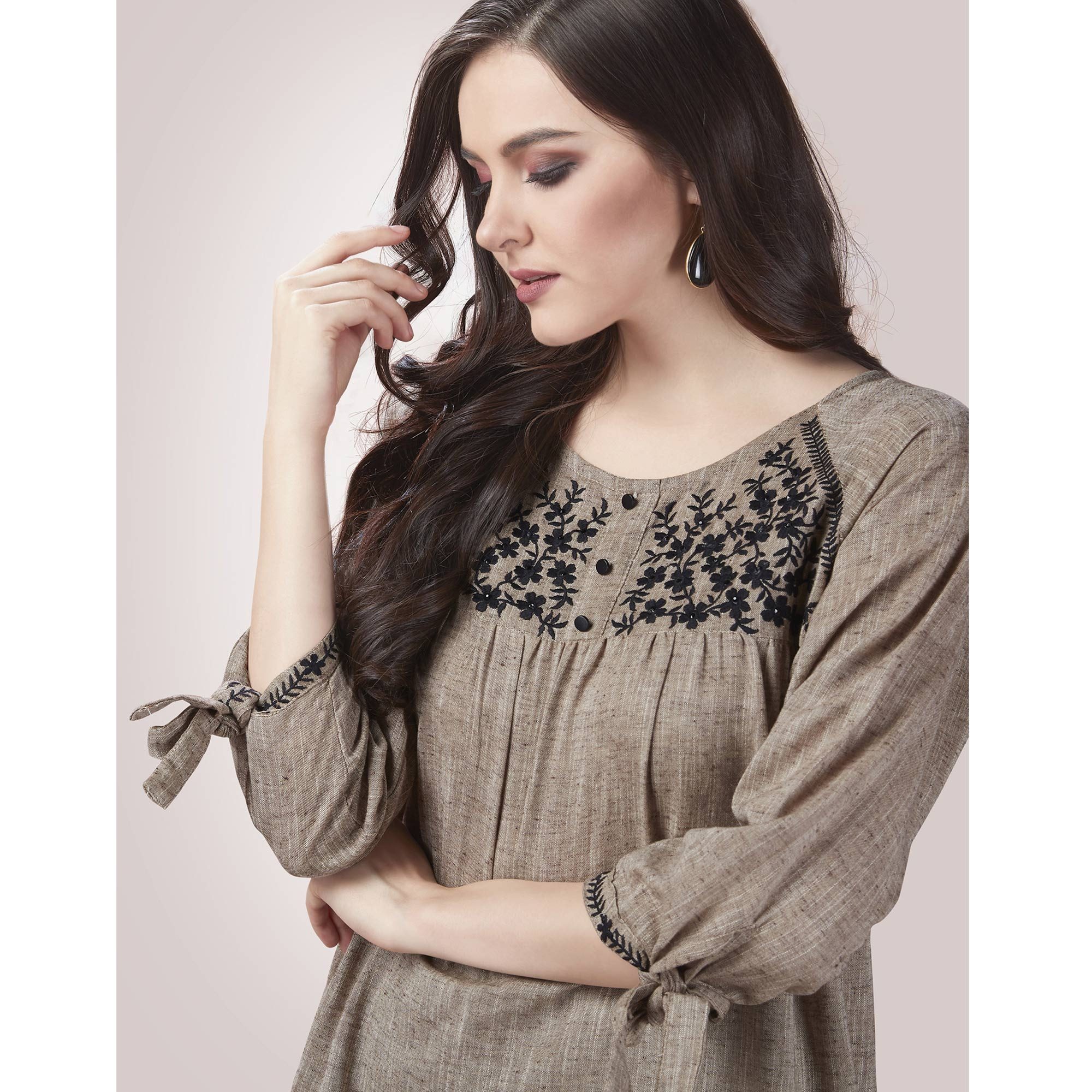 Preferable Grey Colored Partywear Embroidered Rayon Western Top