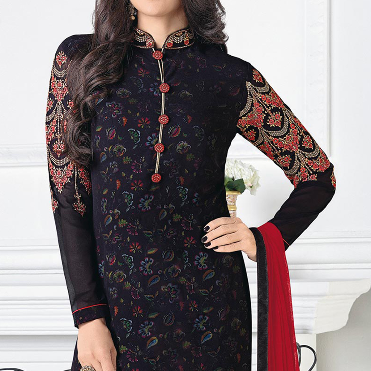 Arresting Black Georgette Embroidered Designer Suit