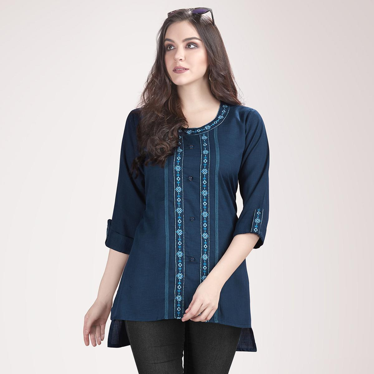 Ravishing Steel Blue Colored Partywear Embroidered Rayon Western Top
