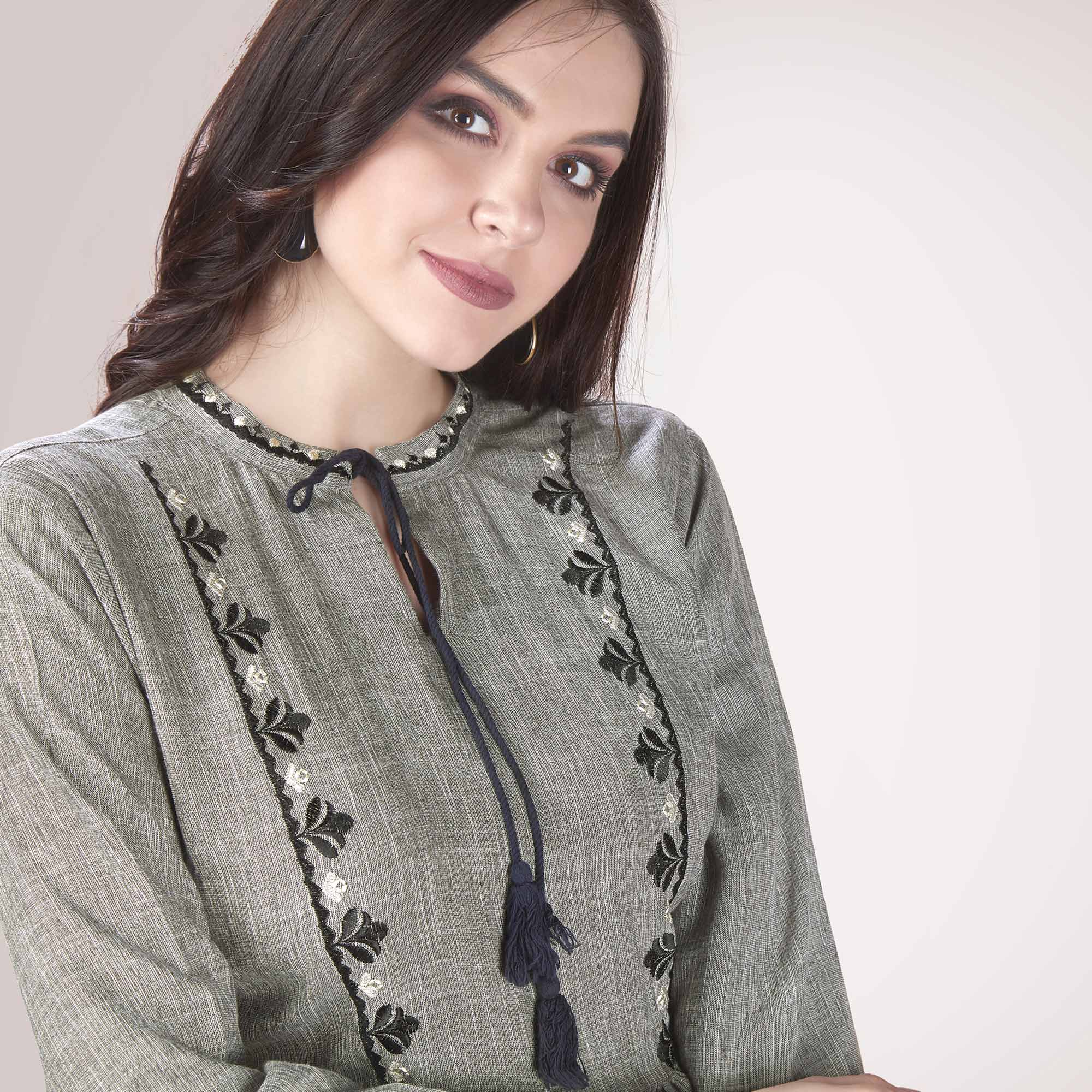 Staring Light Grey Colored Partywear Embroidered Rayon Western Top