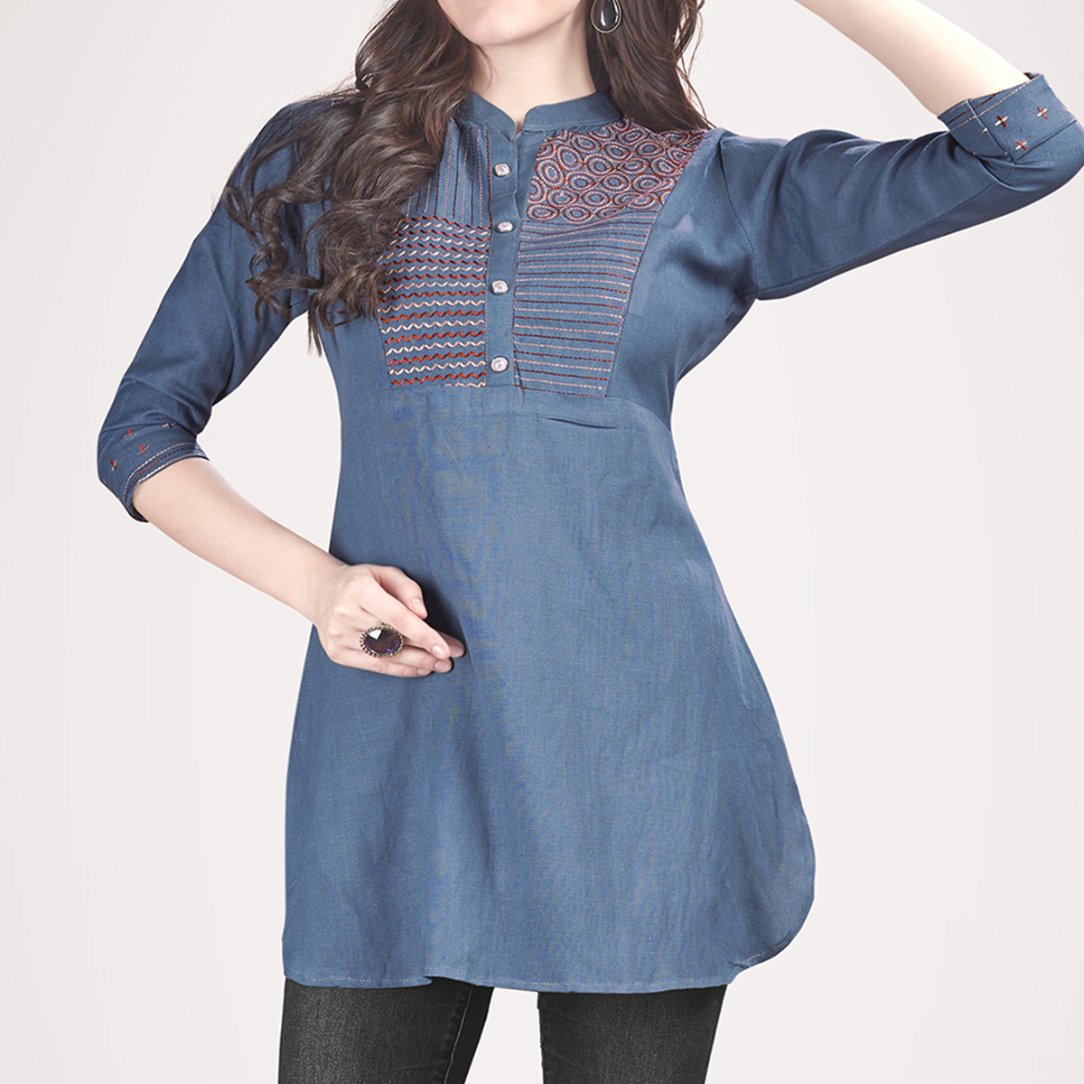 Stunning Blue Colored Partywear Embroidered Rayon Western Top