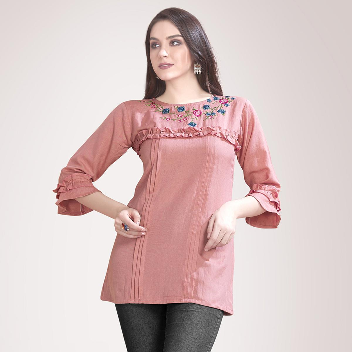 Surpassing Peach Colored Partywear Embroidered Rayon Western Top