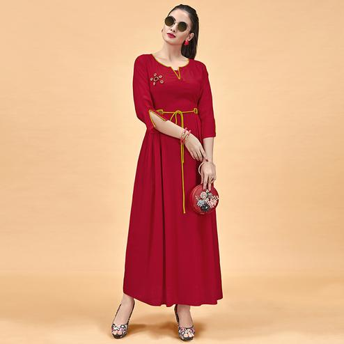 Adorning Red Colored Party Wear Fancy Heavy Rayon Kurti