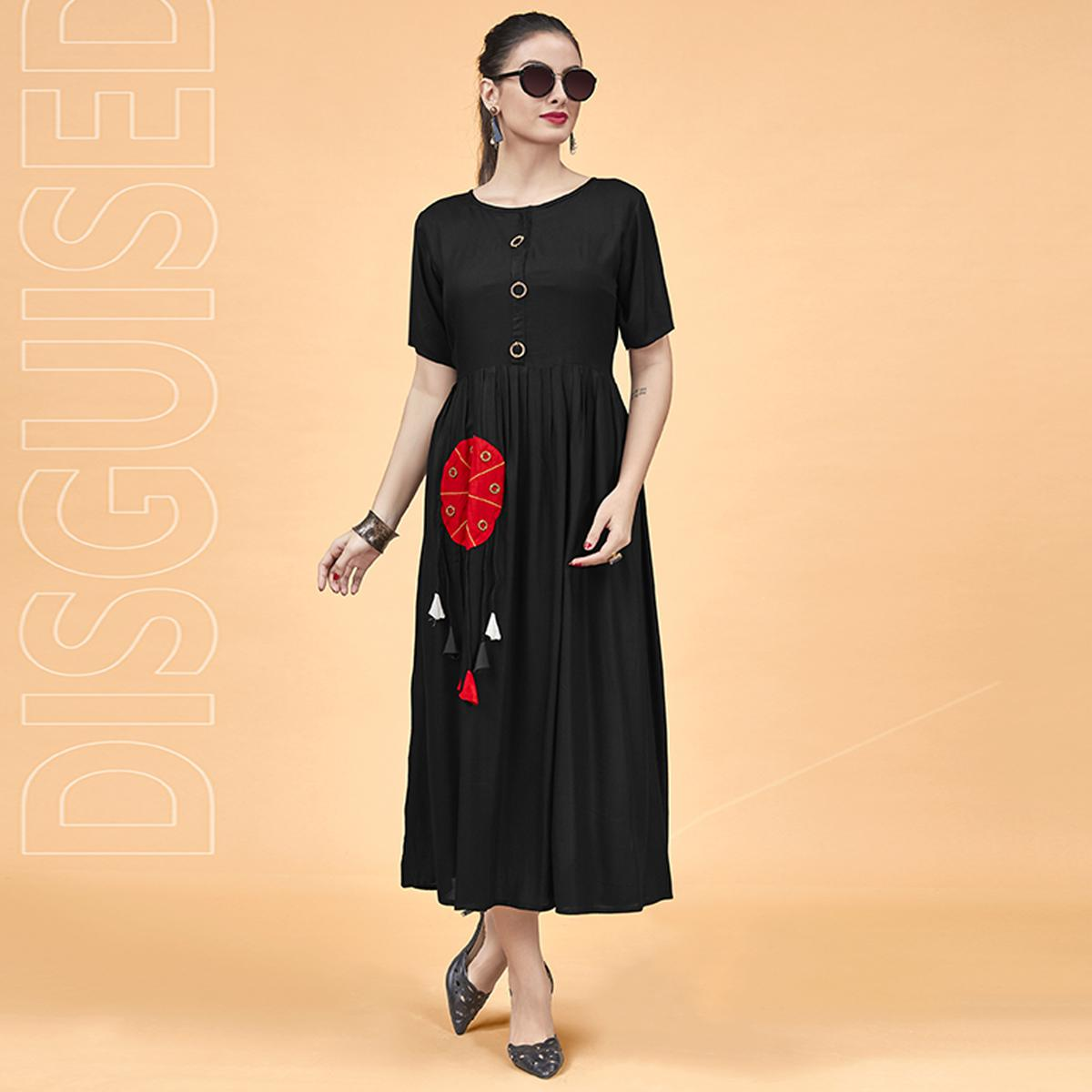 Captivating Black Colored Party Wear Fancy Heavy Rayon Kurti
