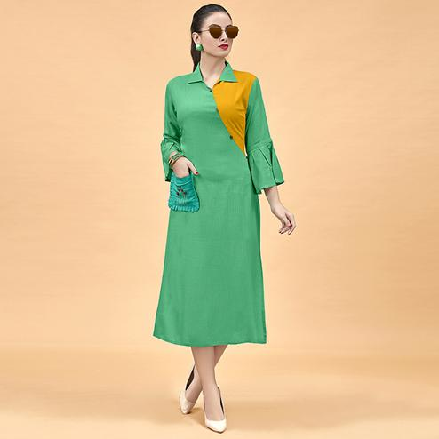 Groovy Green Colored Party Wear Fancy Heavy Rayon Kurti