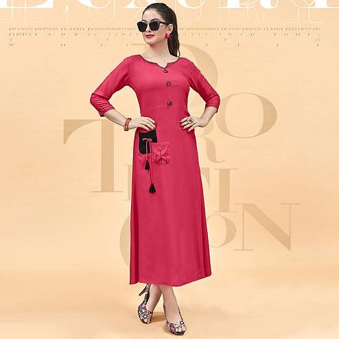 Prominent Pink Colored Party Wear Fancy Heavy Rayon Kurti