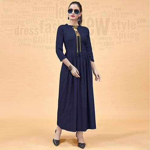 Innovative Navy Blue Colored Party Wear Fancy Heavy Rayon Kurti