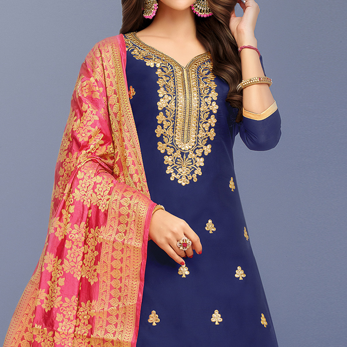 Elegant Navy Blue Colored Party Wear Embroidered Silk Patiala Suit
