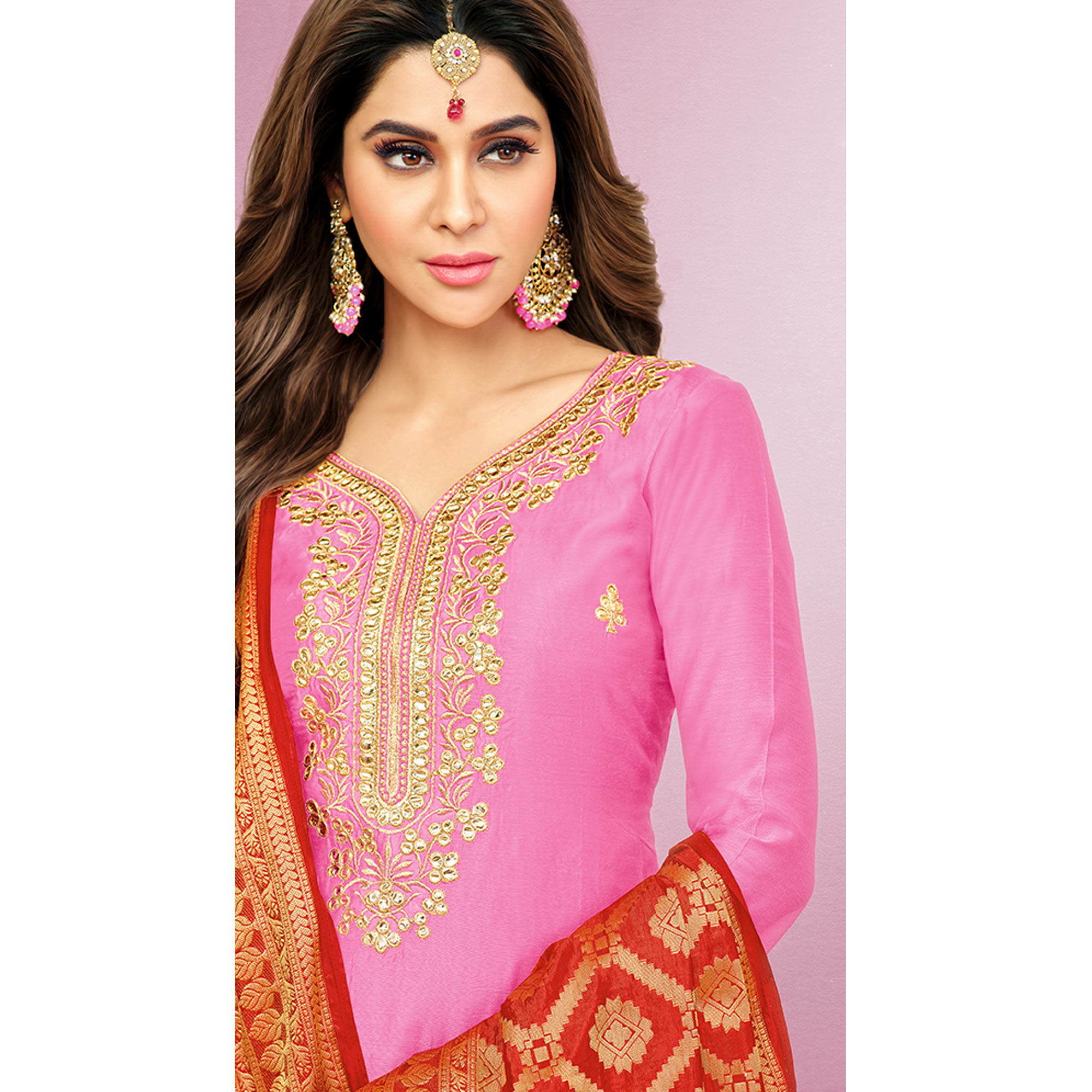 Alluring Pink Colored Party Wear Embroidered Silk Patiala Suit