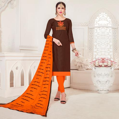 Flattering Brown Colored Casual Wear Embroidered Modal Silk Dress Material