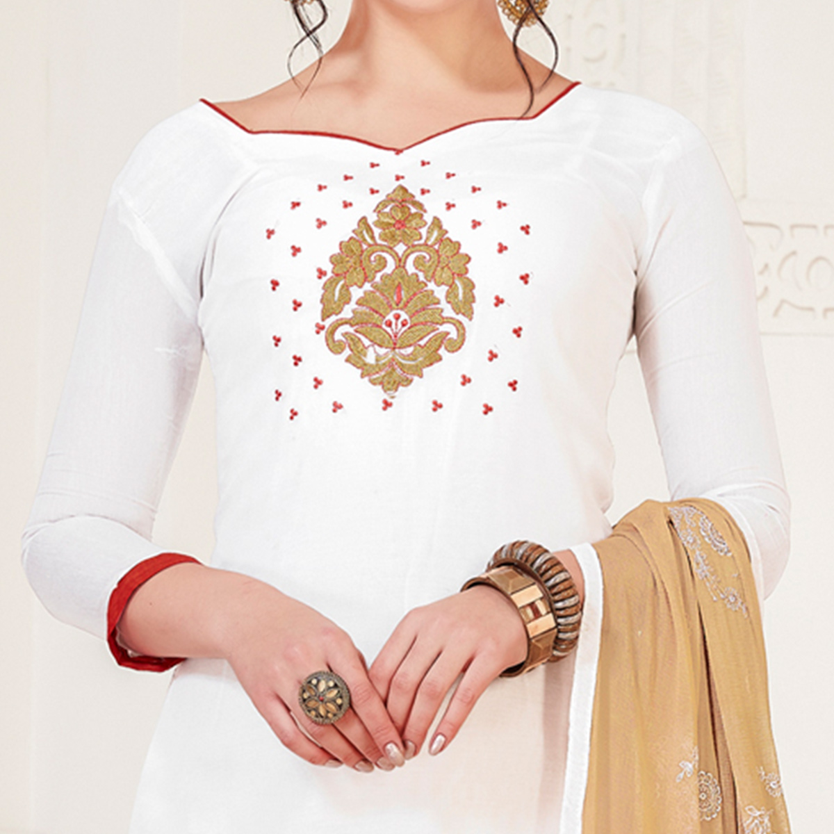 Radiant White Colored Casual Wear Embroidered Modal Silk Dress Material