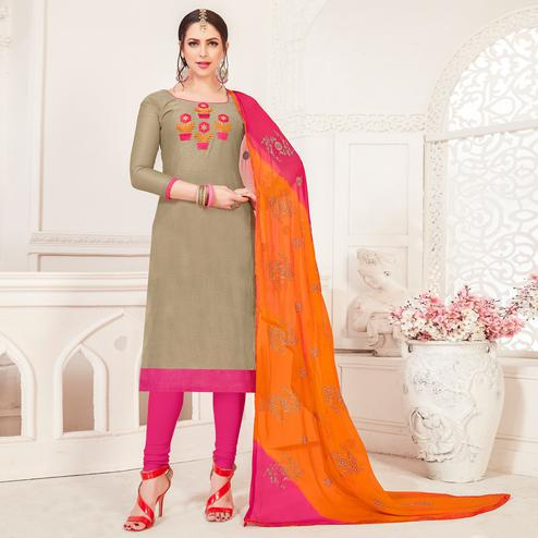 Pleasant Beige Colored Casual Wear Embroidered Modal Silk Dress Material