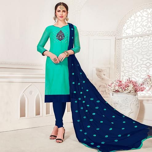 Opulent Sea Green Colored Casual Wear Embroidered Modal Silk Dress Material