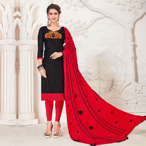 Energetic Black Colored Casual Wear Embroidered Modal Silk Dress Material