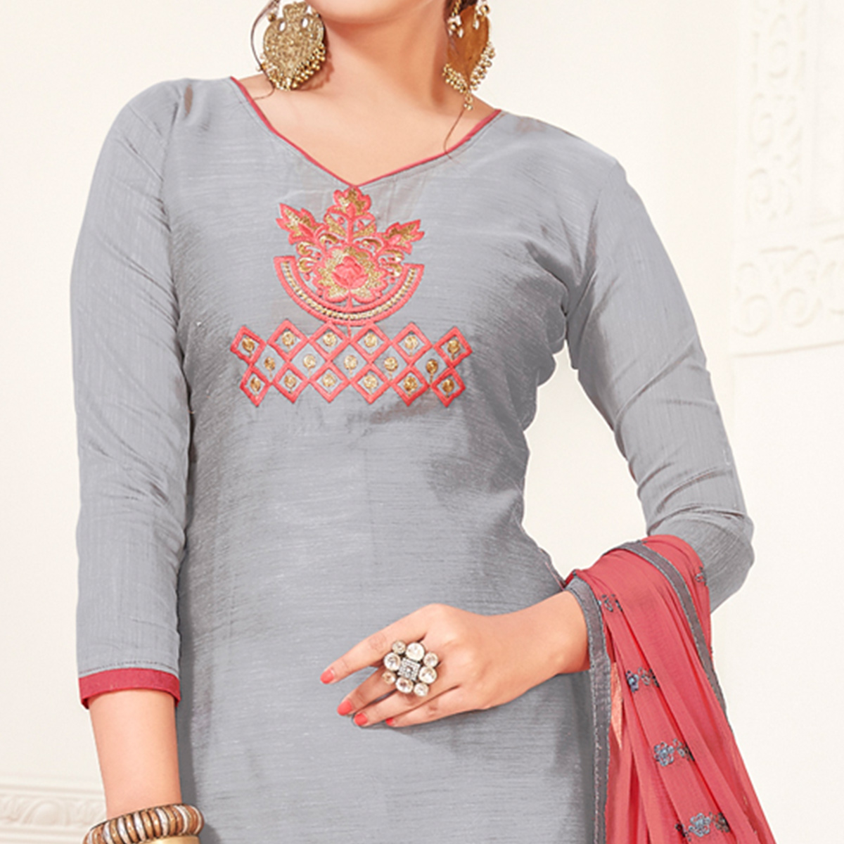 Graceful Grey Colored Casual Wear Embroidered Modal Silk Dress Material