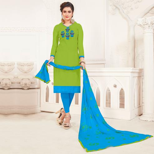 Exceptional Green Colored Casual Wear Embroidered Modal Silk Dress Material