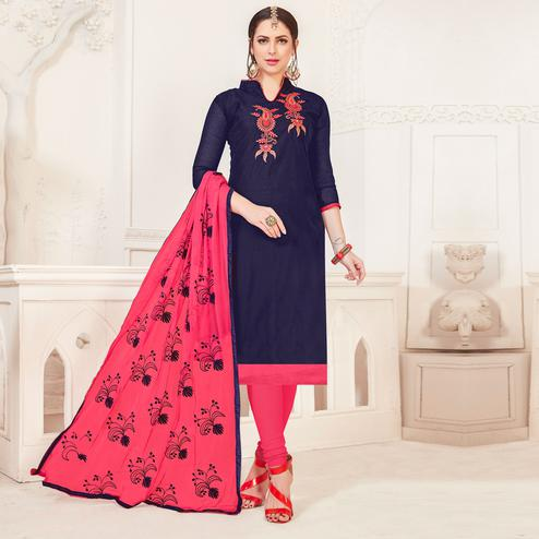 Gleaming Navy Blue Colored Casual Wear Embroidered Modal Silk Dress Material
