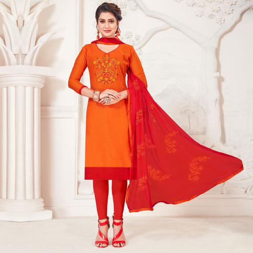 Mesmeric Orange Colored Casual Wear Embroidered Modal Silk Dress Material