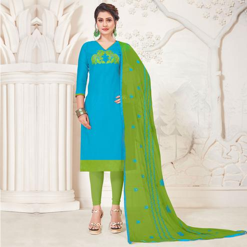Unique Sky Blue Colored Casual Wear Embroidered Modal Silk Dress Material