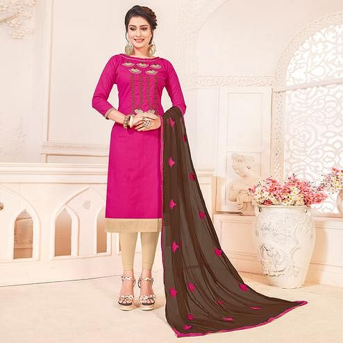 Delightful Rani Pink Colored Partywear Embroidered Cotton Dress Material