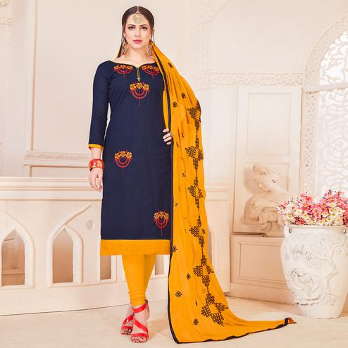 Engrossing Navy Blue Colored Partywear Embroidered Cotton Dress Material