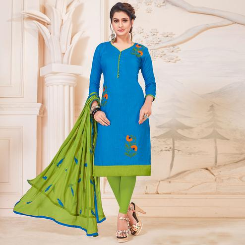Exotic Sky Blue Colored Partywear Embroidered Cotton Dress Material