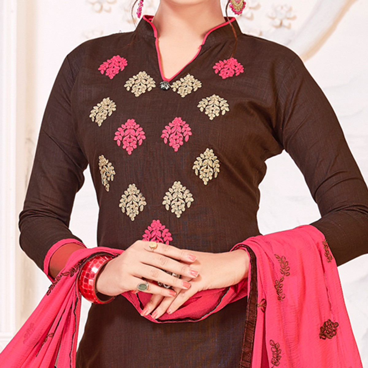 Graceful Brown Colored Partywear Embroidered Cotton Dress Material