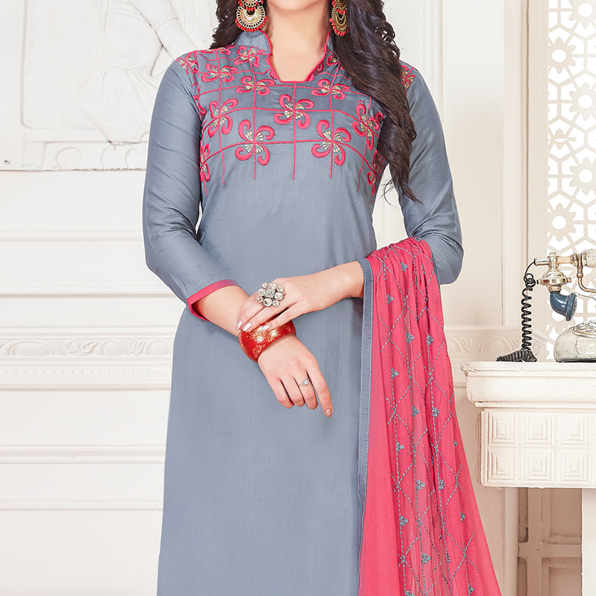 Pleasant Gray Colored Partywear Embroidered Cotton Dress Material