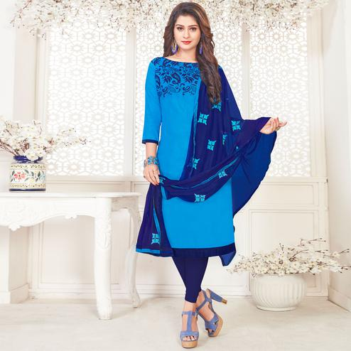 Energetic Blue Colored Partywear Embroidered Cotton Dress Material