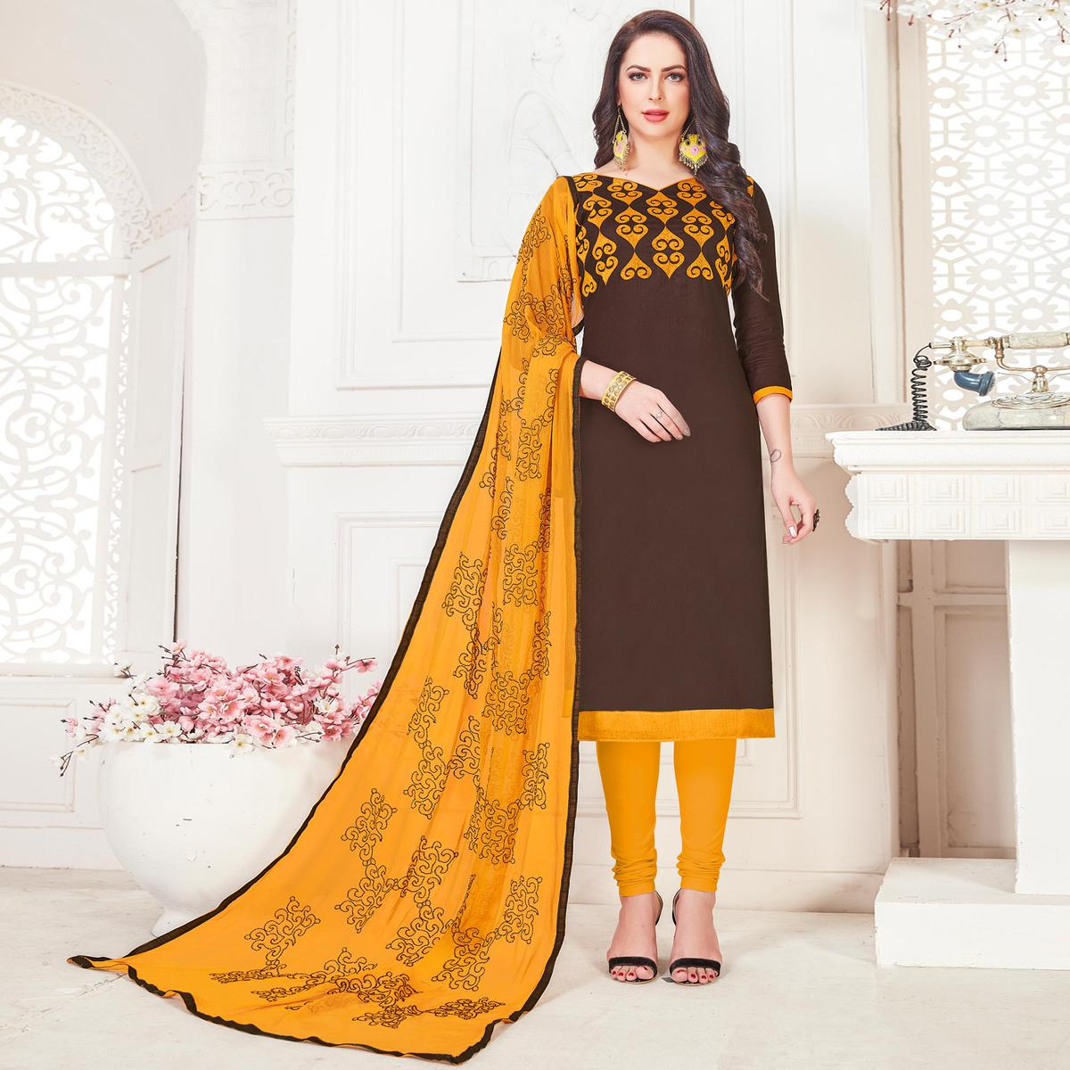 Glowing Brown Colored Partywear Embroidered Cotton Dress Material