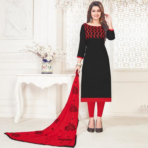 Exceptional Black Colored Partywear Embroidered Cotton Dress Material