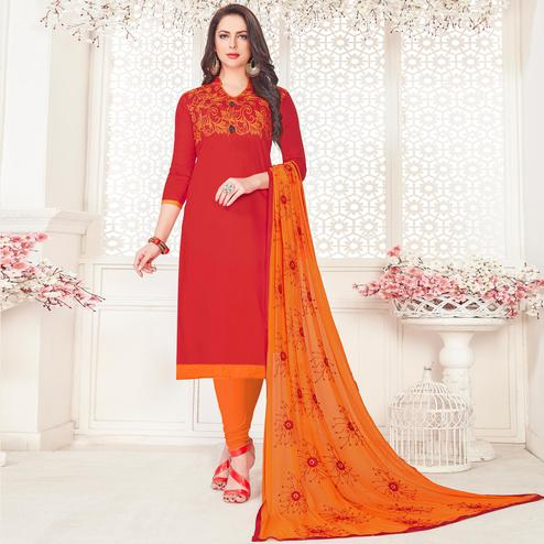 Unique Red Colored Partywear Embroidered Cotton Dress Material