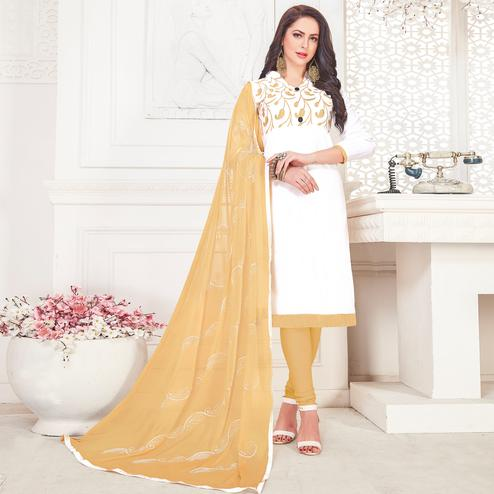 Demanding White Colored Partywear Embroidered Cotton Dress Material