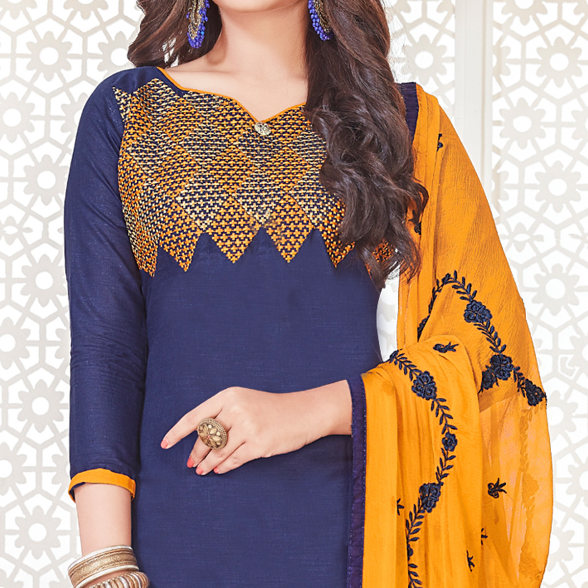 Intricate Navy Blue Colored Casual Wear Embroidered Cotton Salwar Suit