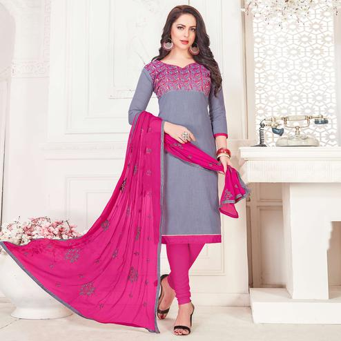 Arresting Grey Colored Casual Wear Embroidered Cotton Salwar Suit