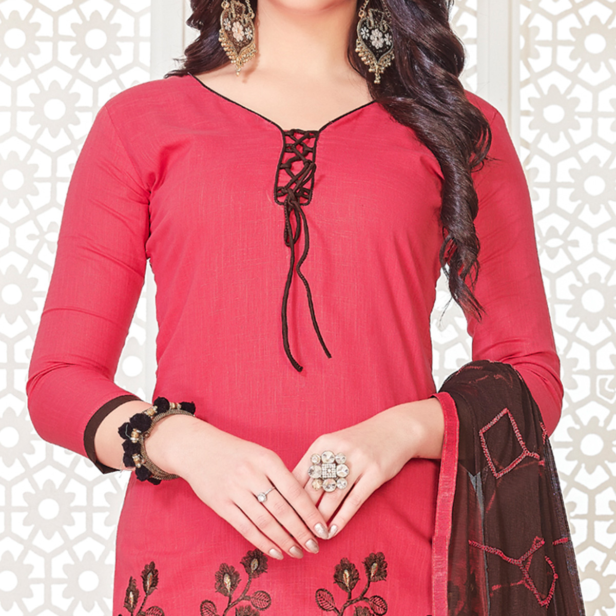 Adorning Pink Colored Casual Wear Embroidered Cotton Salwar Suit