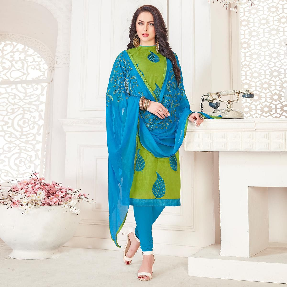 Appealing Green Colored Casual Wear Embroidered Cotton Salwar Suit