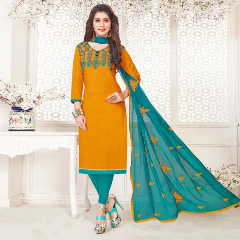 Capricious Mustard Yellow Colored Casual Wear Embroidered Cotton Salwar Suit
